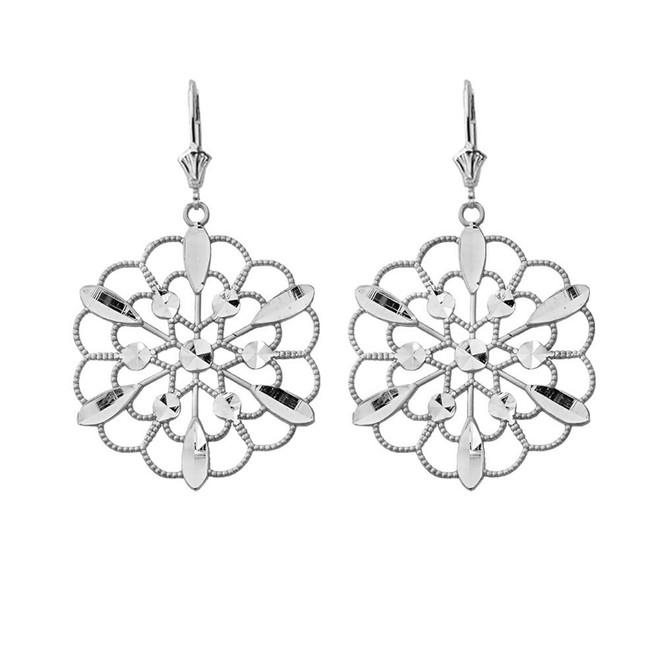 Handmade Designer Boho Floral Milgrain Statement Earrings in 14K White Gold