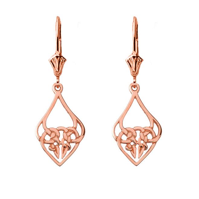 Designer Celtic Knot Statement Earrings in 14K Rose Gold