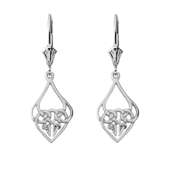 Designer Celtic Knot Statement Earrings in 14K White Gold