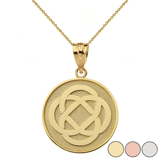Celtic Knot Flower Disc Pendant Necklace in Gold (Yellow/Rose/White)