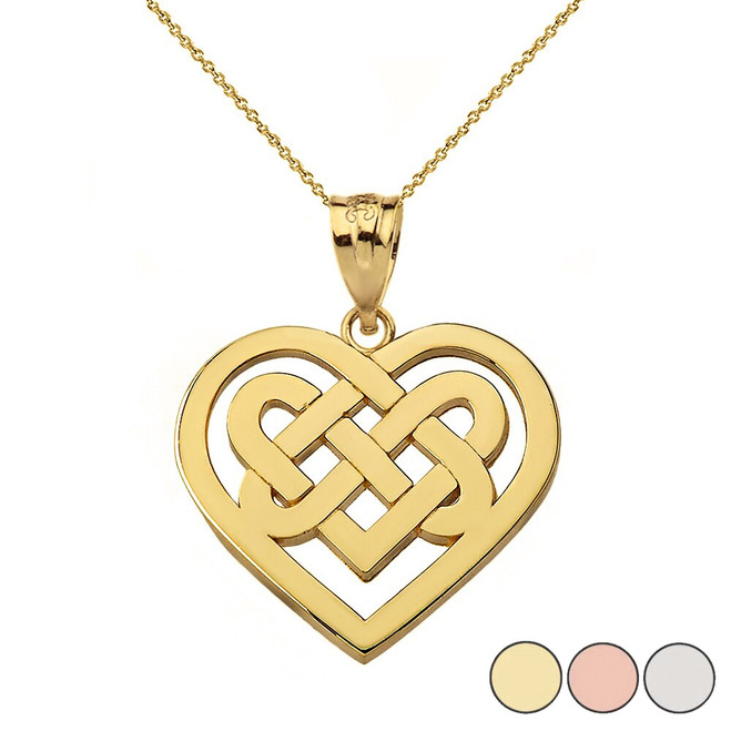 Celtic Knot Woven Heart Pendant Necklace in Gold (Yellow/Rose/White)