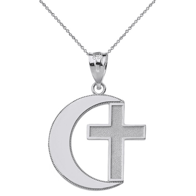 Sterling Silver Crescent Moon and Cross Pendant Necklace