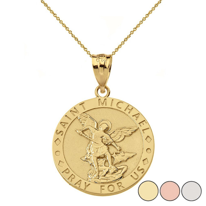 Engravable Saint Michael Pray For Us Circle Pendant Necklace in Gold (Yellow/Rose/White)