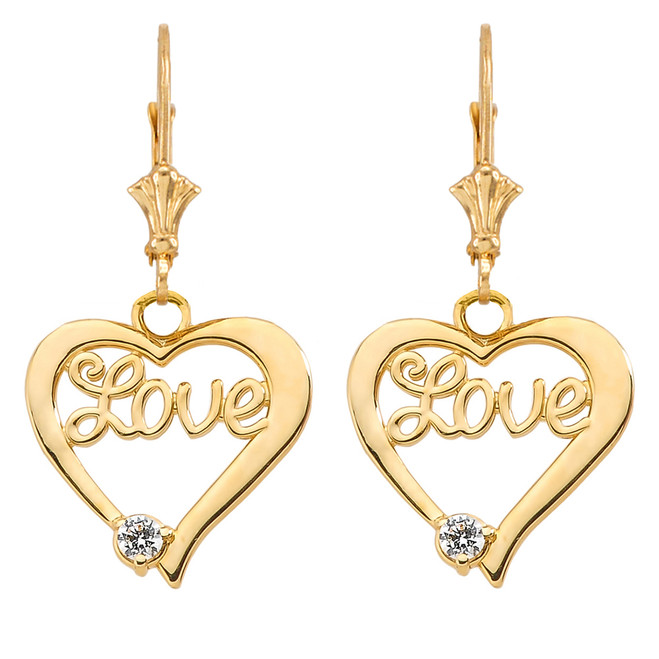"""""""Love"""" Script Diamond Heart Earrings in Yellow Gold"""
