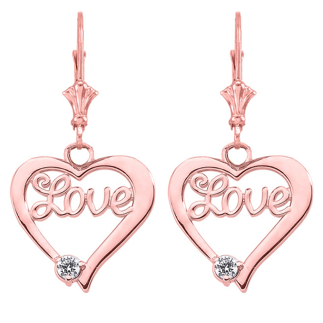 """Love"" Script Diamond Heart Earrings in 14K Rose Gold"