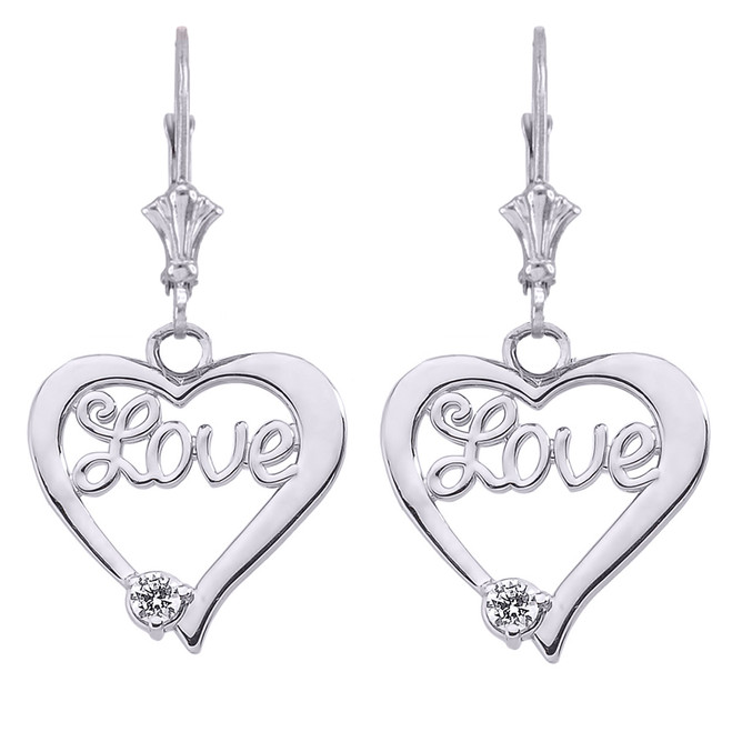 """Love"" Script Diamond Heart Earrings in 14K White Gold"