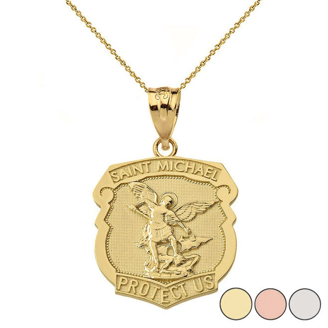 St. Michael Protect Us Shield Pendant Necklace in Gold (Yellow/Rose/White)