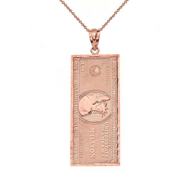 Solid Rose Gold Double Sided Million Dollar Bill Money Pendant Necklace (Medium)