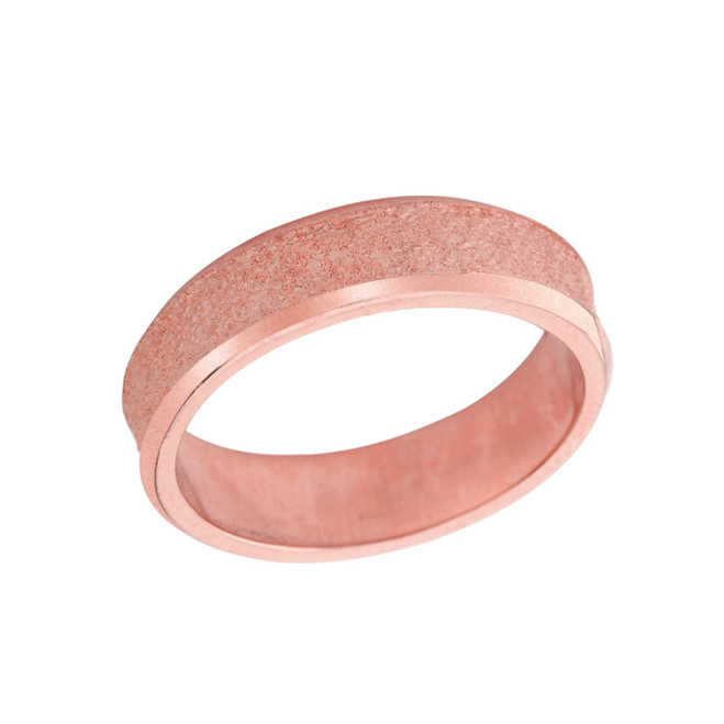 Rock Satin (6 MM) Wedding Band in Solid Rose Gold