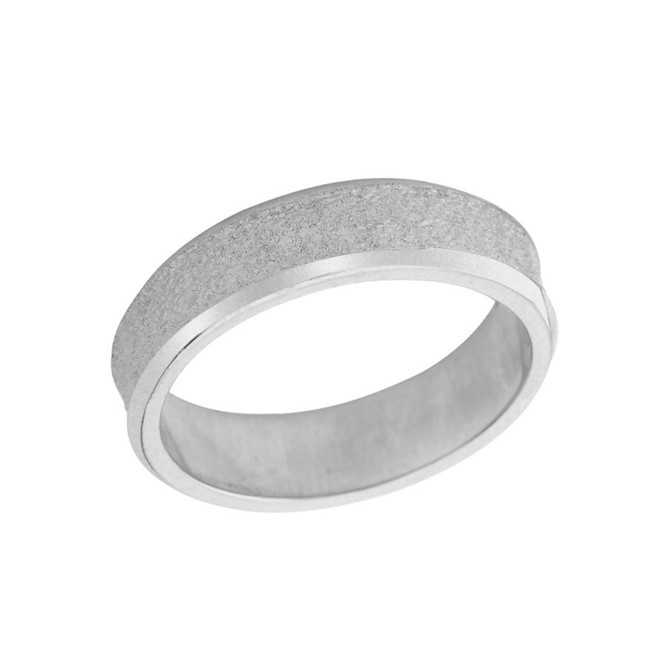 Rock Satin (6 MM) Wedding Band in Sterling Silver