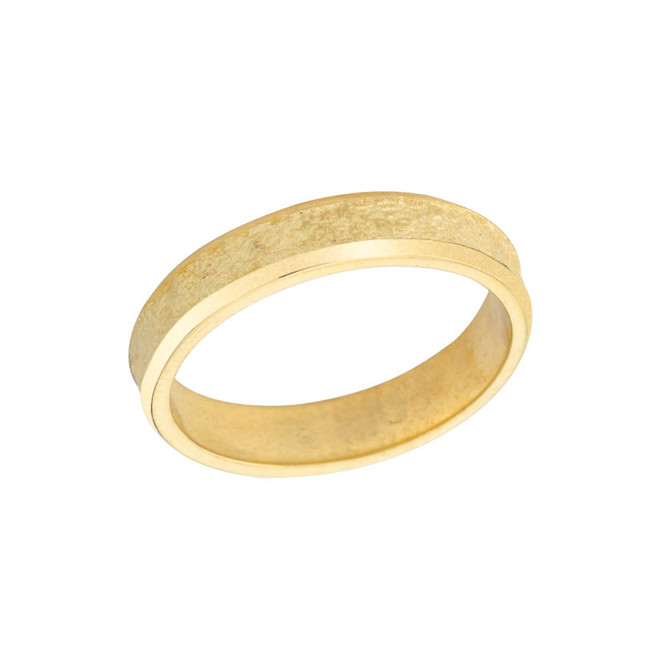 Rock Satin (4 MM) Wedding Band in Solid Yellow Gold