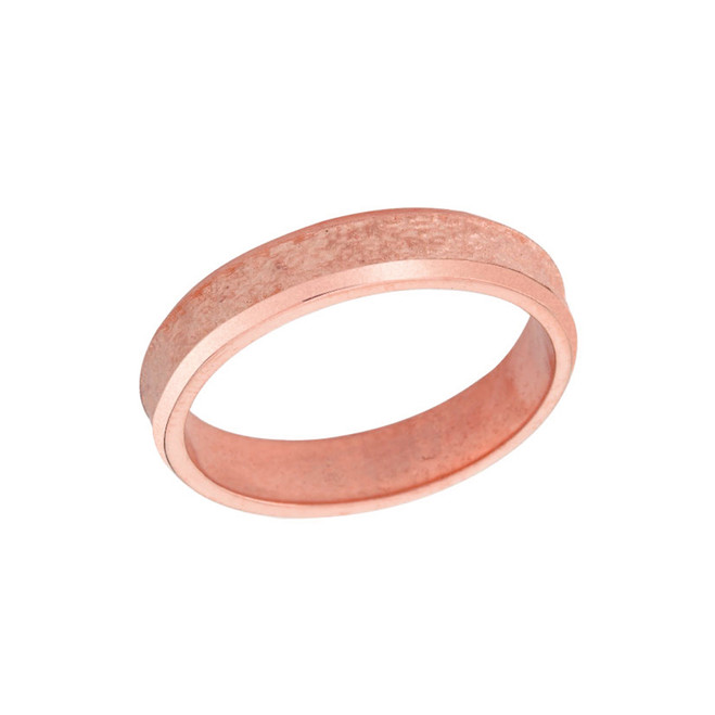 Rock Satin (4 MM) Wedding Band in Solid Rose Gold