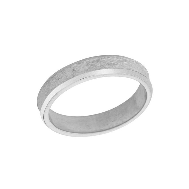 Rock Satin (4 MM) Wedding Band in Solid White Gold