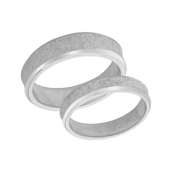 Couples Matching Rock Satin Wedding Band Set in Solid White Gold