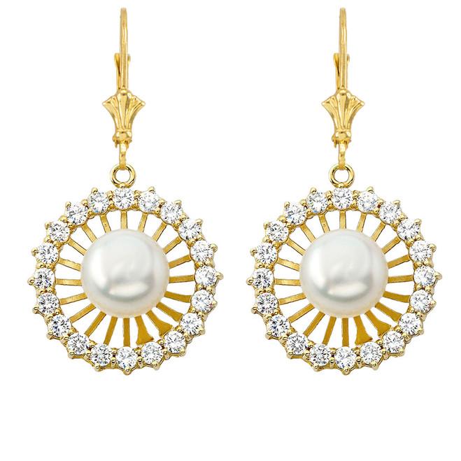 Elegant Designer Diamond & Pearl Earrings in Yellow Gold
