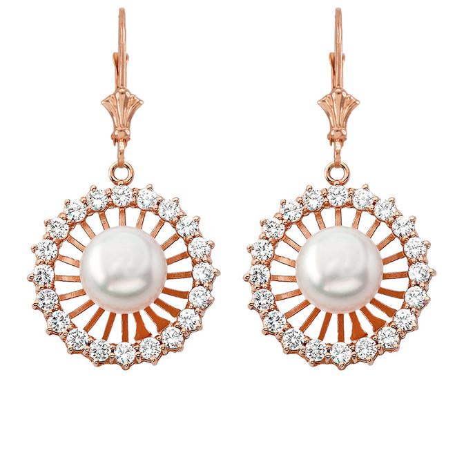 Elegant Designer Pearl Earrings in 14K Rose Gold