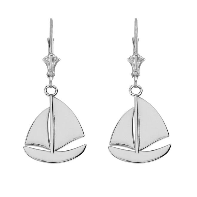 14K Sail Boat Earrings in White Gold