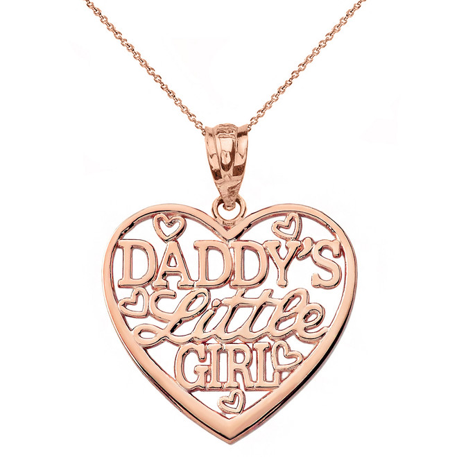 Solid Rose Gold Daddy's Little Girl Heart Pendant Necklace