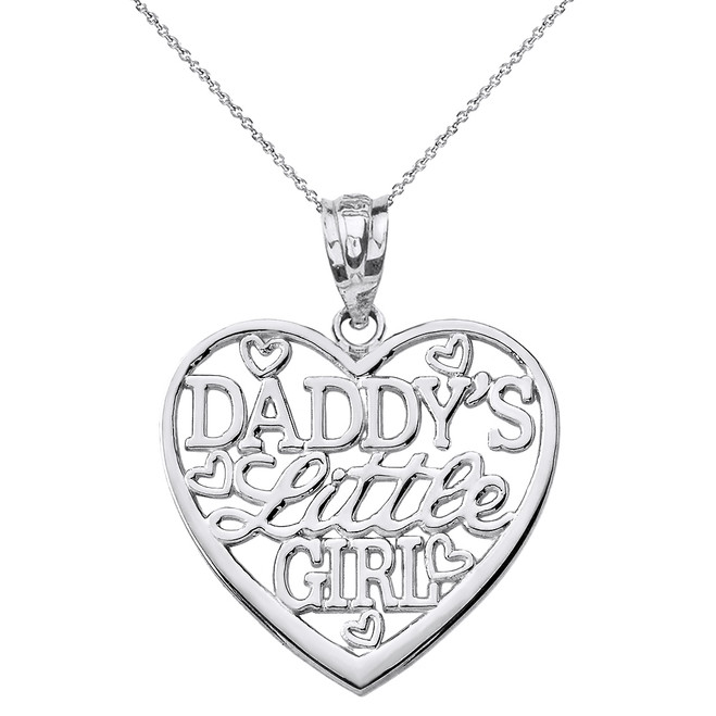 Solid White Gold Daddy's Little Girl Heart Pendant Necklace