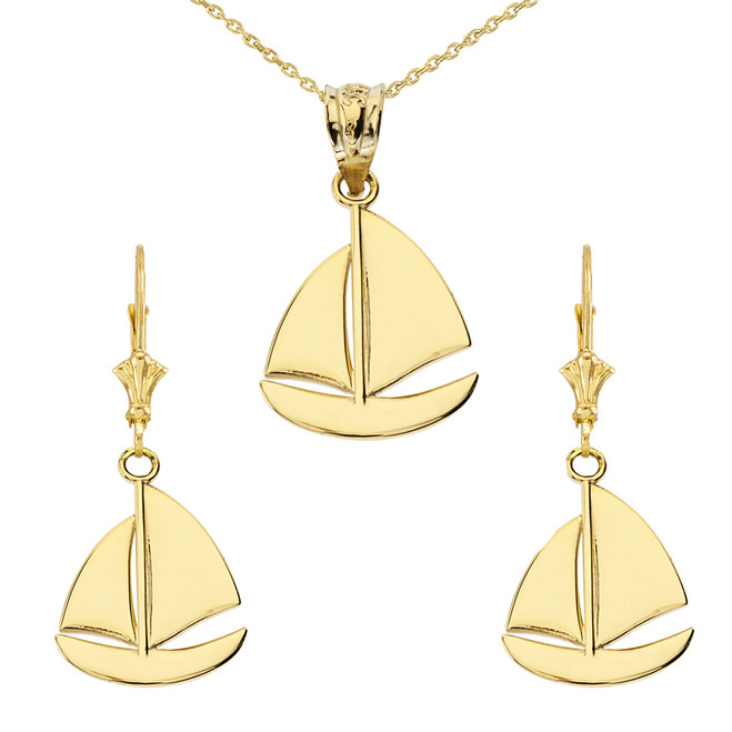 14K Sail Boat Pendant Necklace Set in Yellow Gold
