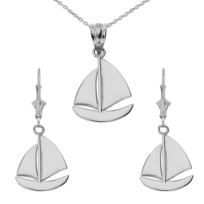 14K Sail Boat Pendant Necklace Set in White Gold