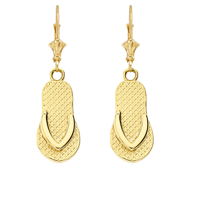 Flip Flop Earrings in Yellow Gold