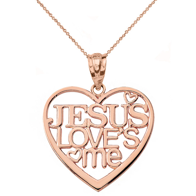 Solid Rose Gold Jesus Loves Me Heart Pendant Necklace