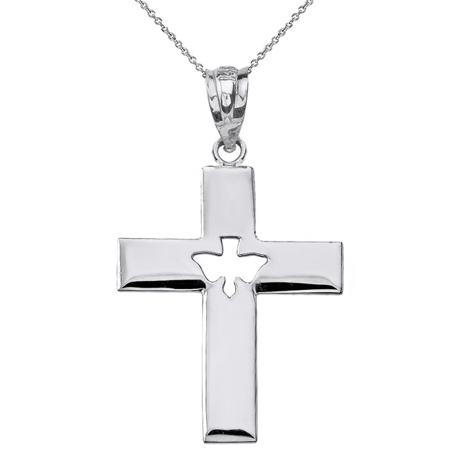Solid White Gold Cross with Dove Holy Spirit Cut Out Pendant Necklace