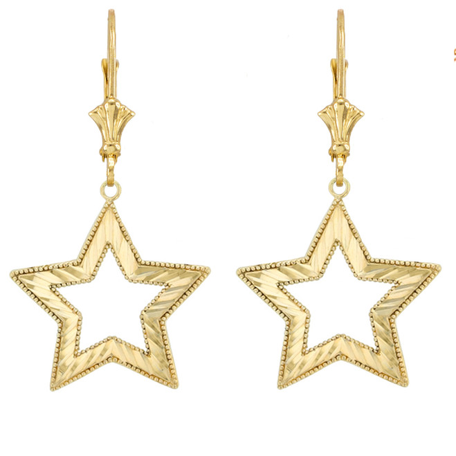 Chic Sparkle Cut Star Earrings in Yellow Gold