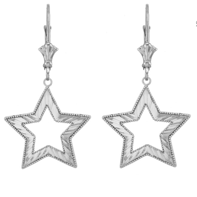 Chic Sparkle Cut Star Earrings in Sterling Silver