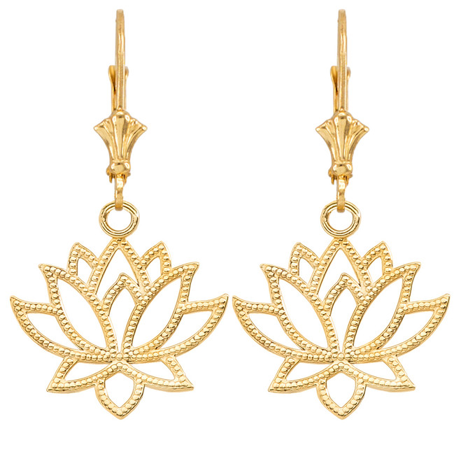 Lotus Flower Earrings in Yellow Gold