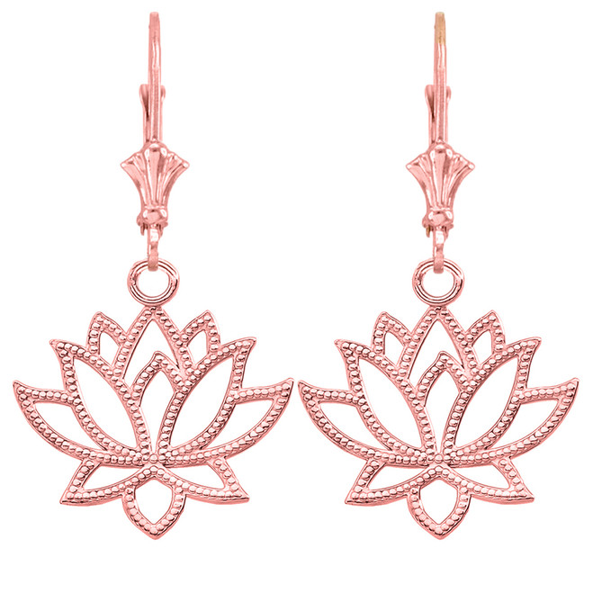 14K Lotus Flower Earrings in Rose Gold
