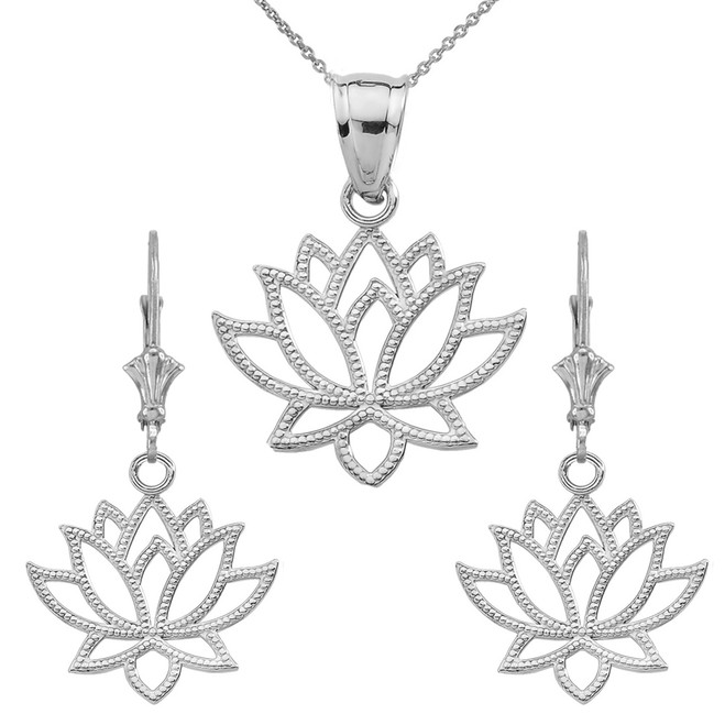 14K Lotus Flower Pendant Necklace Set in White Gold