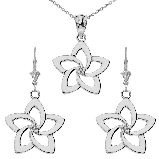 14K Flower Pendant Necklace Set in White Gold
