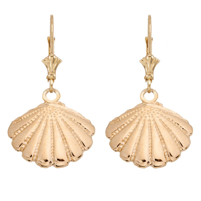 Cockle Sea Shell Earrings in Yellow Gold