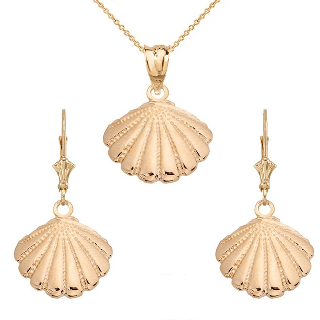 14K Cockle Sea Shell Pendant Necklace Set in Yellow Gold