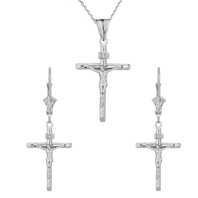 Dainty Crucifix Cross (INRI) Pendant Necklace Set in Sterling Silver