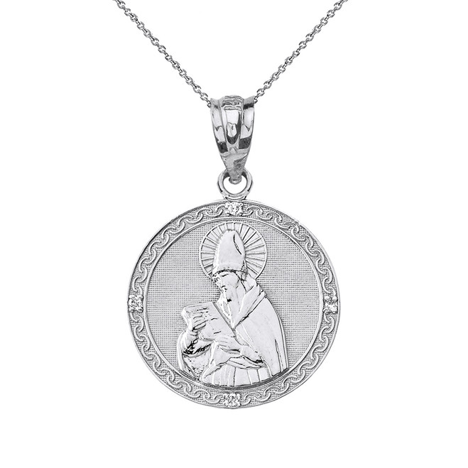 Solid White Gold Engravable Diamond Saint  Augustine Circle Pendant Necklace 1.06""