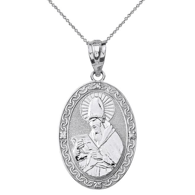 """Sterling Silver Engravable CZ Saint  Augustine Oval Pendant Necklace  1.20"""""""