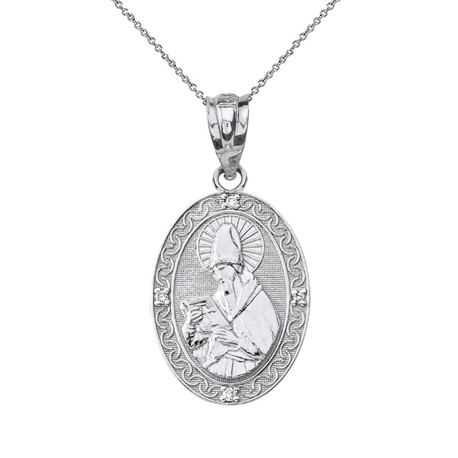 Solid White Gold Engravable Diamond Saint Augustine Oval Pendant Necklace 1.04""