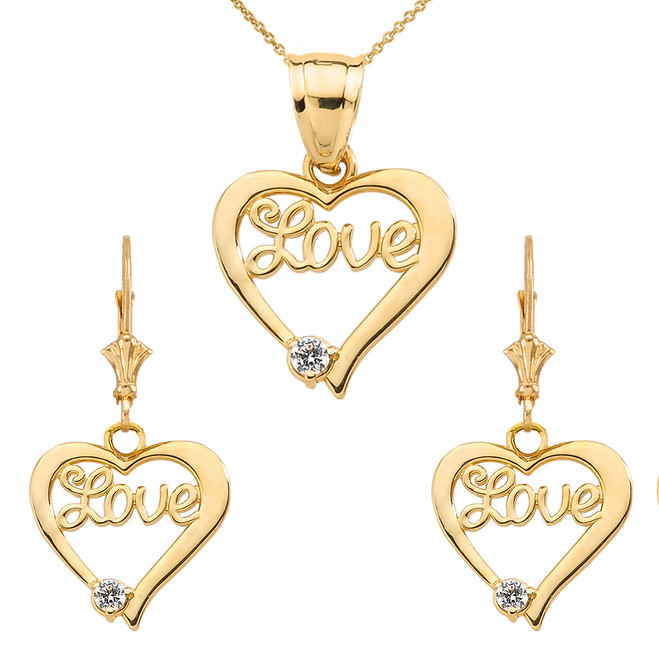 "14K ""Love"" Script Diamond Heart Pendant Necklace Set in Yellow Gold"
