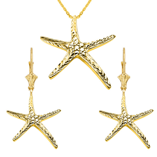 14K Diamond Cut Starfish Pendant Necklace Set in Yellow Gold