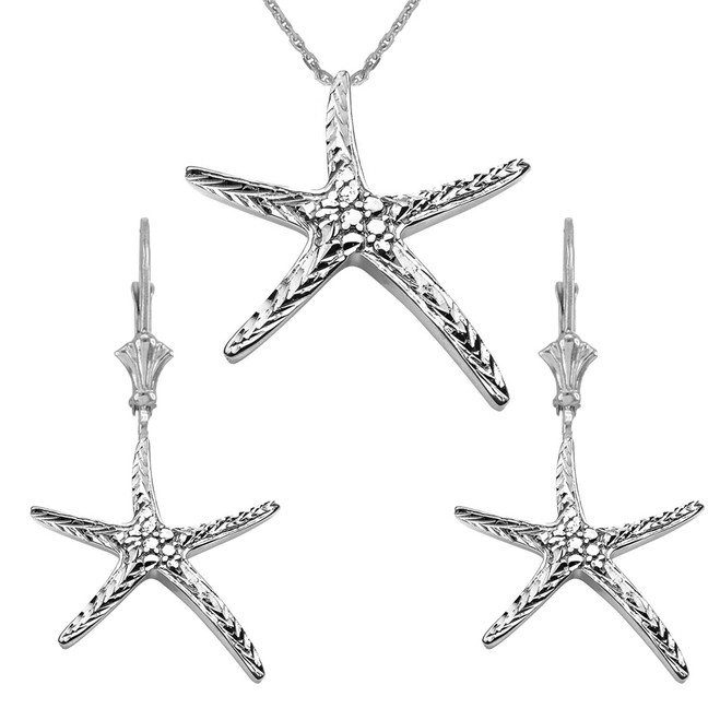 Diamond Cut Starfish Pendant Necklace Set in Sterling Silver