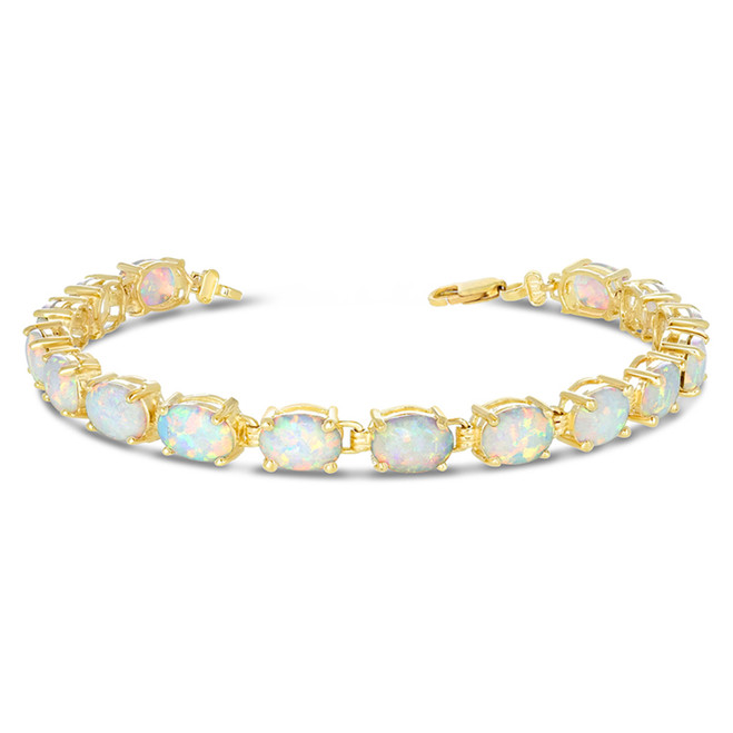 Oval Simulated Opal (9 x 7) Tennis Bracelet in Yellow Gold