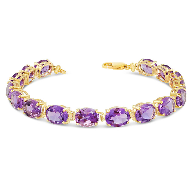 Oval Genuine Amethyst (9 x 7) Tennis Bracelet in Yellow Gold