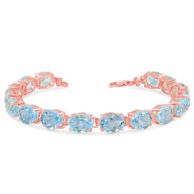 Oval Genuine Blue Topaz (9 x 7) Tennis Bracelet in Rose Gold