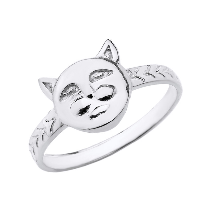 Sterling Silver Cat Face Ring