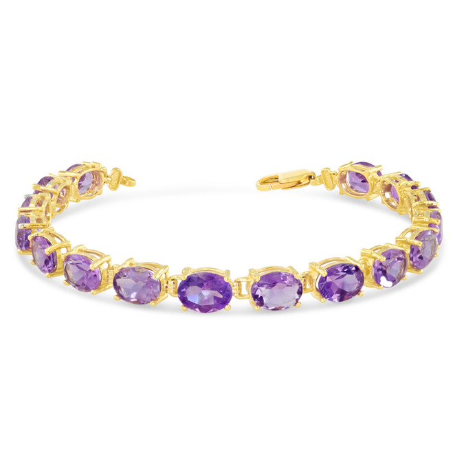 Oval Genuine Amethyst (8 x 6) Tennis Bracelet in Yellow Gold