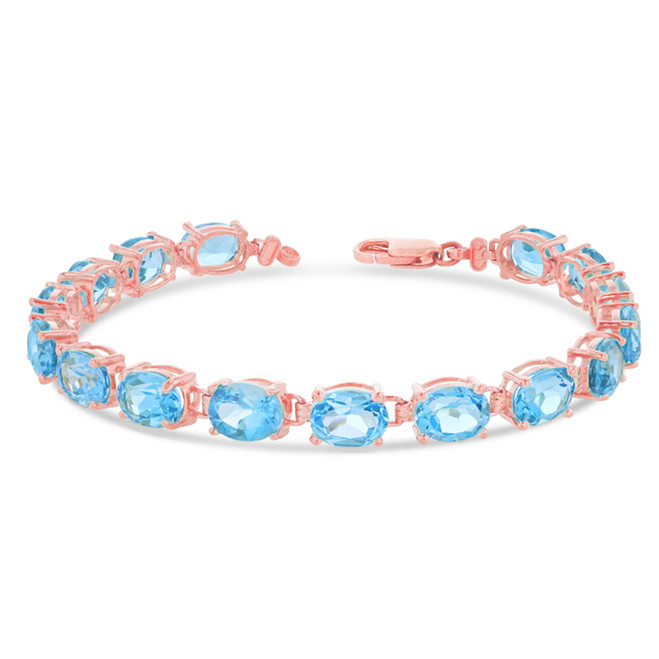 Oval Genuine Blue Topaz (8 x 6) Tennis Bracelet in Rose Gold