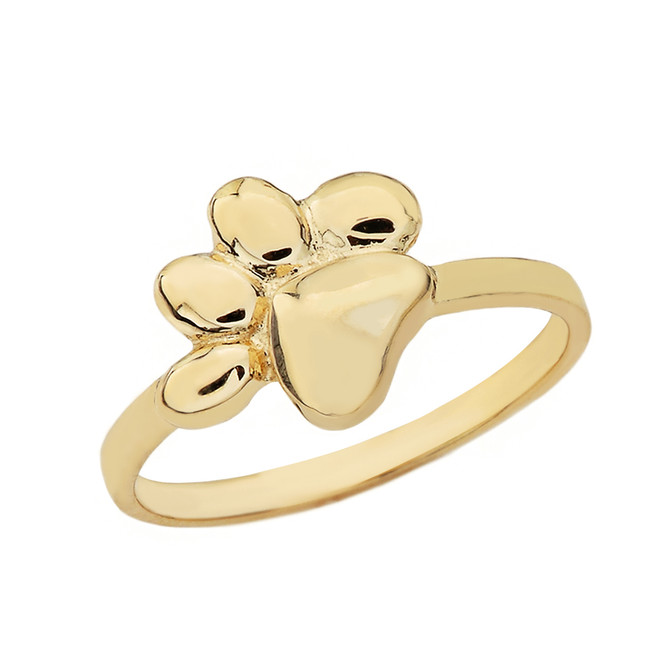 Solid Yellow Gold Cat Foot Print Paw Ring